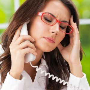 woman stressed on phone