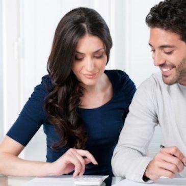 happy couple budgeting