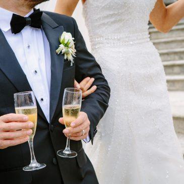 new couple, wedding, champagne glass