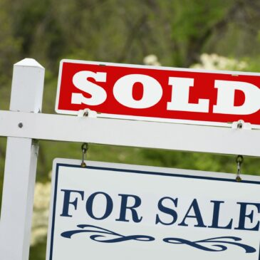 """A home for sale sign is in a yard marked """"sold."""""""